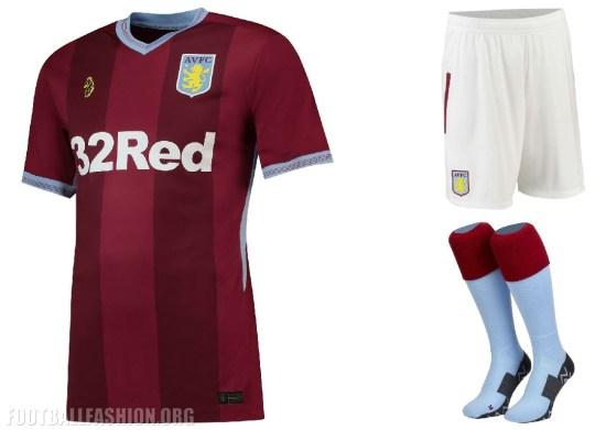 Aston Villa 2018 2019 Home and Away Football Kit, Soccer Jersey, Shirt