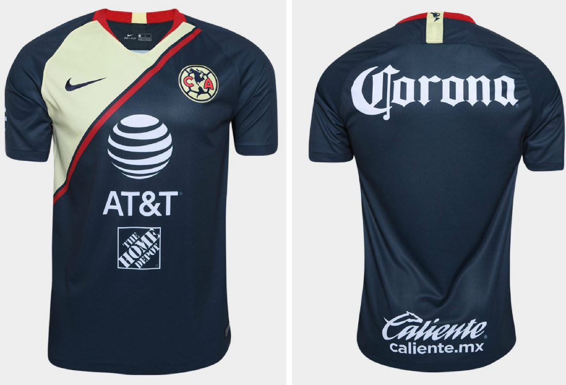 10f5d331eb7 ... it essentially reverses the colorway of the home shirt to produce a  mainly dark blue look with cream yellow and red accents. Club América 2018  2019 Nike ...