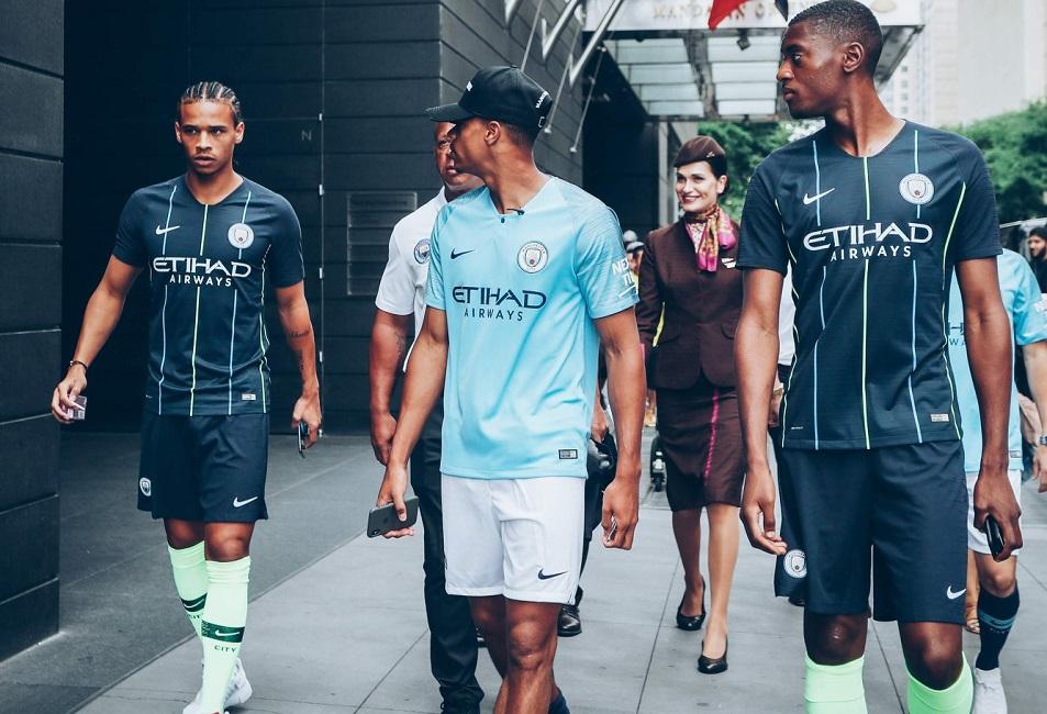 b785d43b8eb Manchester City FC 2018 2019 Dark Blue Nike Away Football Kit, Shirt,  Soccer Jersey