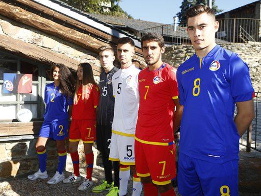 Andorra 2018 2019 2020 Macron Home, Away and Third Football Kit, Soccer Jersey, Shirt