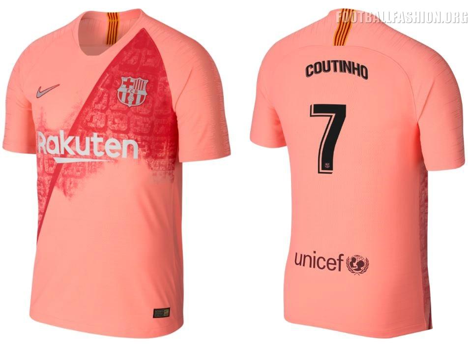 c8f2bd9ed37 FC Barcelona 2018 2019 Nike Peach Third Football Kit, Soccer Jersey, Shirt,  Camiseta