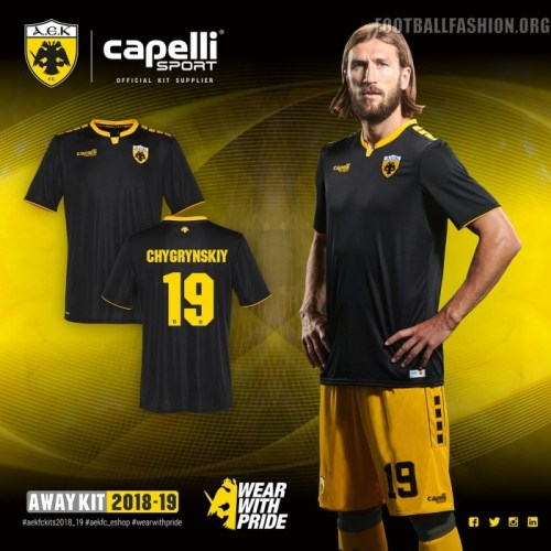 AEK FC 2018 2019 Capelli Home, Away and Third Football Kit, Soccer Jersey, Shirt, ΑΓΩΝΙΣΤΙΚΗ ΦΑΝΕΛΑ