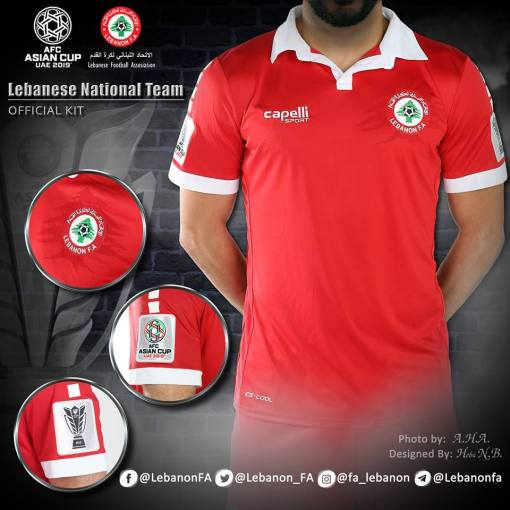 Lebanon 2019 Asian Cup Capelli Home Soccer Jersey, Shirt, Kit, Maillot