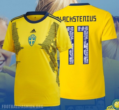 Sweden 2019 Women's World Cup adidas Home Football Kit, Soccer Jersey, Shirt, Matchtröja