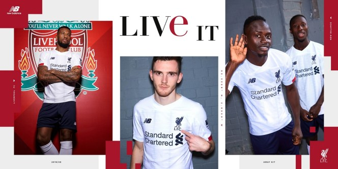 Liverpool FC 2019 2020 White New Balance Away Football Kit, Soccer Jersey, Shirt, Camiseta, Camisa, Maillot, Trikot