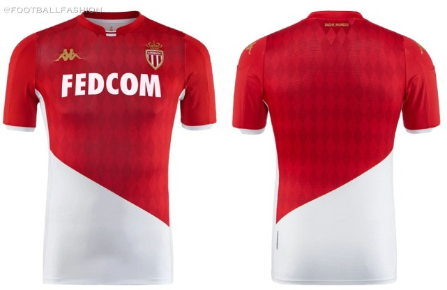 AS Monaco 2019 2020 Kappa Home Football Kit, Soccer Jersey, Shirt, Maillot