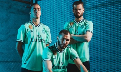 Real Madrid 2019 2020 adidas Green Third Football Kit, Soccer Jersey, Shirt, Camiseta, Camisa, Equipacion, Maillot, Trikot, Tenue, Camisola, Dres