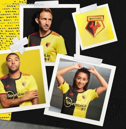 Watford FC 2019 2020 adidas Home Football Kit, Soccer Jersey, Shirt