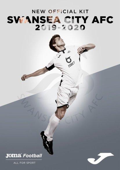 Swansea City 2019 2020 Joma Home and Away Football Kit, Soccer Jersey, Shirt