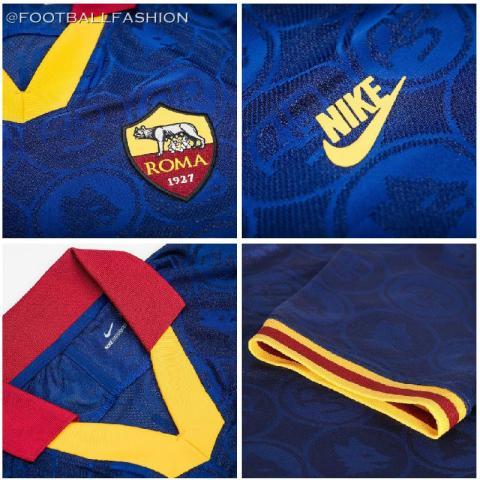 AS Roma 2019 2020 Nike Blue Third Football Kit, Soccer Jersey, Shirt, Camiseta, Camisa, Maglia, Gara, Trikot, Maillot, Tenue
