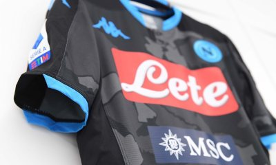 SSC Napoli 2019 2020 Kappa Black Fourth Distirct Football Kit, Soccer Jersey, Shirt. Camiseta, Camisa, Gara, Maglia
