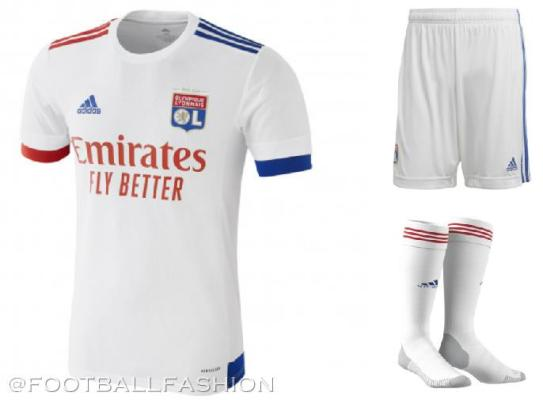 Olympique Lyon 2020 2021 adidas Home and Away Football Kit, 2020-21 Soccer Jersey, 2020/21 Shirt, Maillot