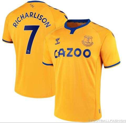 Everton FC 2020 2021 hummel Yellow Away Football Kit, 2020-21 Shirt, 2020/21 Soccer Jersey, Camisa, Camiseta, Trikot, Maillot, Maglia