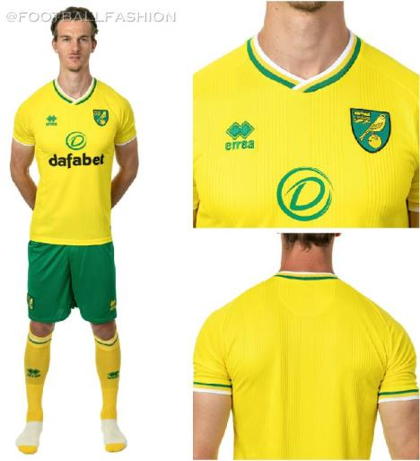 Norwich City 2020/21 Errea Home Kit, 2020-21 Football Shirt, 2020/21 Soccer Jersey