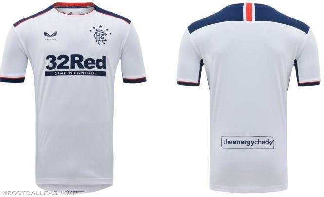 Rangers Football Club 2020 2021 Castore White Away Kit, 2020-21 Soccer Jersey, 2020/21 Shirt