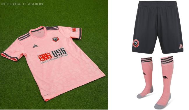 Sheffield United 2020 2021 adidas Pink Away Football Kit, 2020-21 Soccer Jersey, 2020/21 Shirt