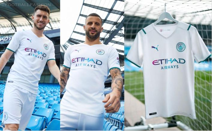 Manchester City FC 2021 2022 PUMA White Away Football Kit, 2021-22 Shirt, 2021/22 Soccer Jersey, Maillot 21-22, Camiseta 21/22, Camisa, Trikot, Tenue