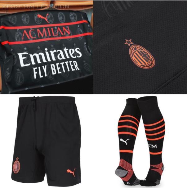 AC Milan 2021 2022 PUMA Black Third Football Kit, 2021/22 Soccer Jersey, 2021-22 Shirt, Maglia, Camiseta 21-22, Camisa 21/22, Trikot