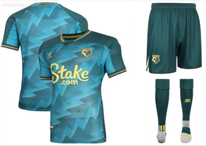 Watford FC 2021 2022 Kelme Green Third Football Kit, 2021-22 Soccer Jersey, 2021/22 Shirt