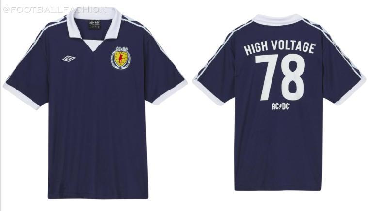 AC/DC x Umbro 1978 Retro Soccer Jersey, Football Kit, Shirt