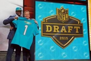 Parker and Goodell at the Draft, MiamiHerald.com Photo by Charles Rex Arbogast-AP
