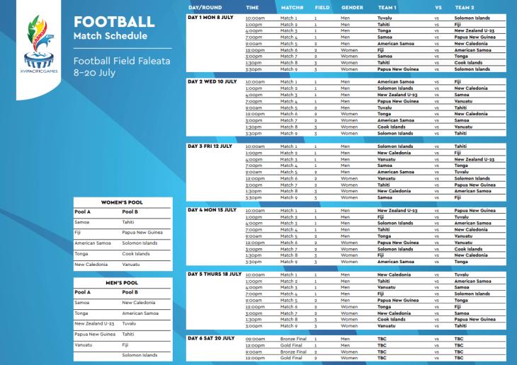 Pacfici Games schedule