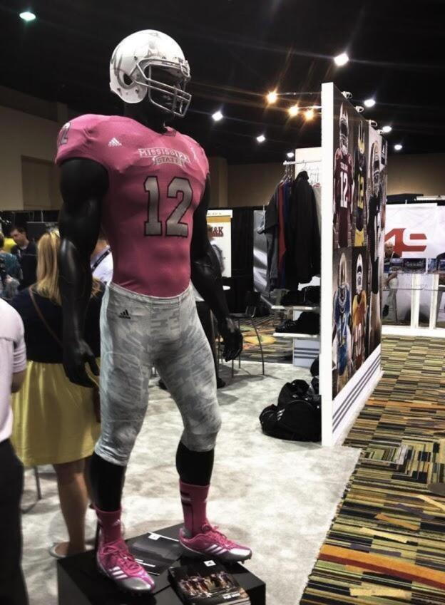 5e22ca7673e0 Photo  Adidas debuts pink Mississippi State jersey concept - FootballScoop