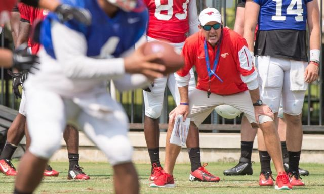 Aug 17, 2015; Denton, TX, USA; Southern Methodist Mustangs head coach Chad Morris during the Southern Methodist University fall football practice. --Photo by Jerome Miron USA TODAY Sports Images, Gannett ORG XMIT: US 133570 SMU FBC 8/17/2015 [Via MerlinFTP Drop]