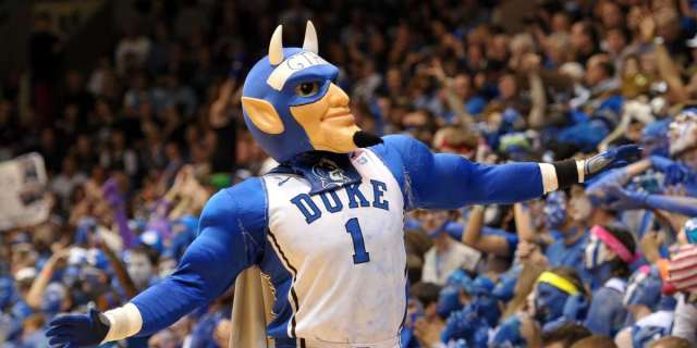 DURHAM, NC - MARCH 08: The mascot of the Duke Blue Devils performs during a game against the North Carolina Tar Heels at Cameron Indoor Stadium on March 8, 2014 in Durham, North Carolina. Duke defeated North Carolina 93-81. (Photo by Lance King/Getty Images)
