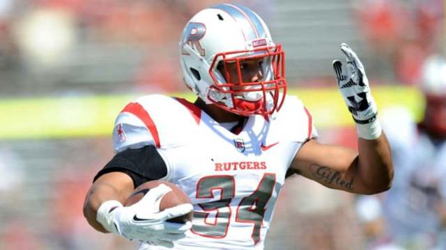 Sep 7, 2013; Piscataway, NJ, USA; Rutgers Scarlet Knights running back Paul James (34) rushes the ball against the Norfolk State Spartans during the first half at High Point Solutions Stadium. Rutgers won the game 38-0. Mandatory Credit: Joe Camporeale-USA TODAY Sports