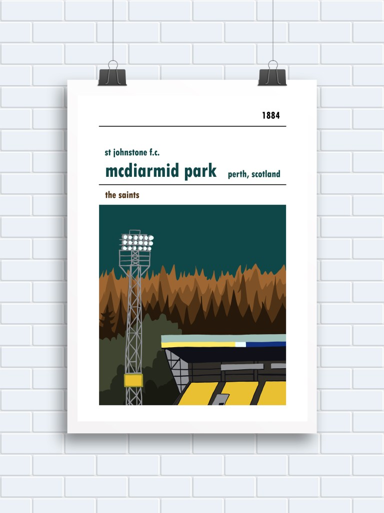 A Scottish football poster of McDiarmid Park, home of St Johnstone FC. Perth