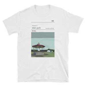A white t-shirt of Stranraer FC and Stair Park