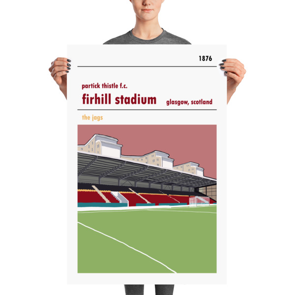 A large football print of Firhill, home to Partick Thistle. The Jags