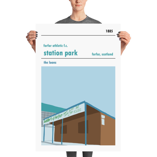 A huge football poster of Station Park, Forfar Athletic FC
