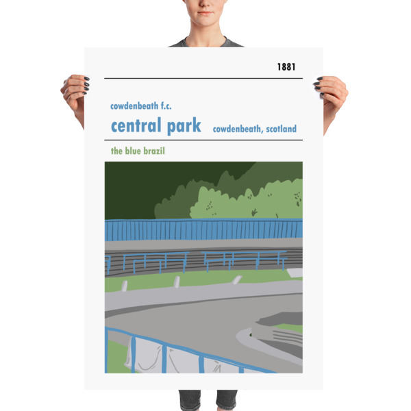 A massive football poster of Central Park, Cowdenbeath and the Blue Brazil