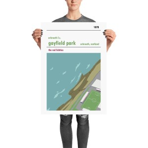 A stadium print poster of Arbroath FC and their home ground of Gayfield Park. The Red Lichties. Large