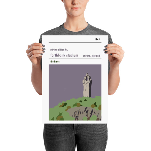 A medium sized football poster of Forthbank, Wallace Monument and Stirling Albion