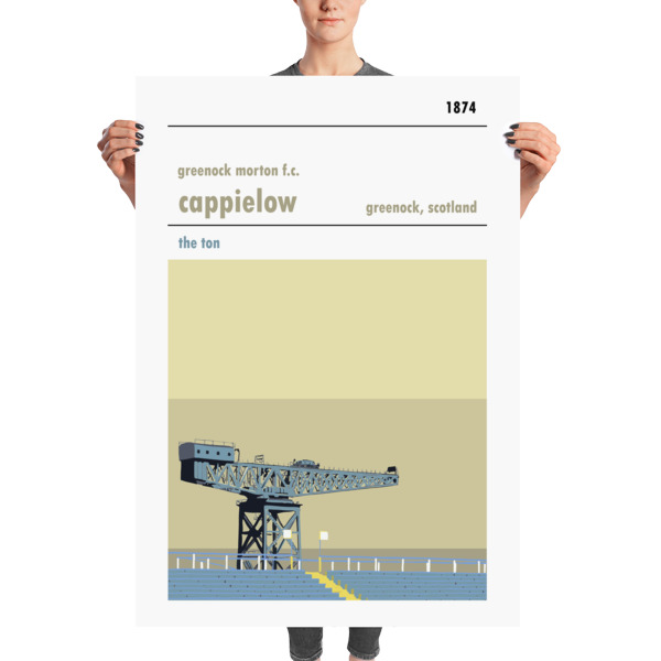 A massive print of Cappielow, home of Greenock Morton FC, showing the ship building crane on the Clyde