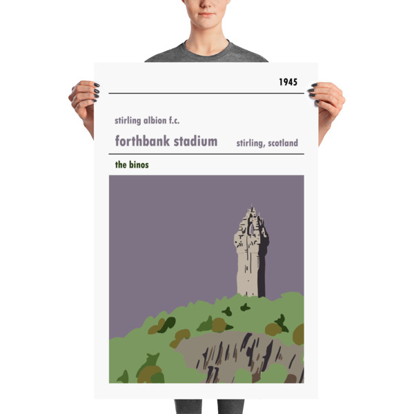 A huge football poster of Forthbank, Wallace Monument and Stirling Albion