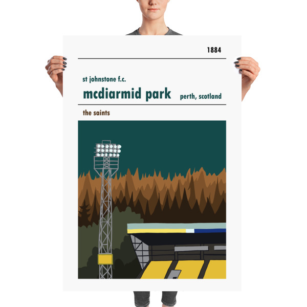 A massive football poster of St Johnstone and McDiarmid Park