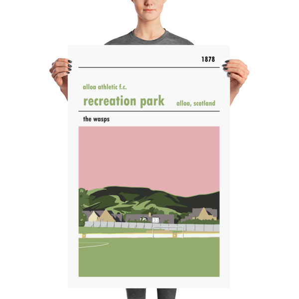 A stadium print poster of Alloa Athletic FC and their home ground of Recreation Park. The Wasps. Huge