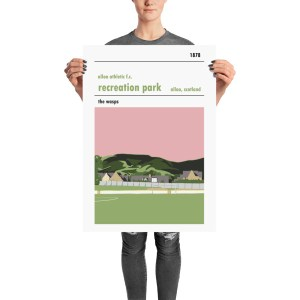 A stadium print poster of Alloa Athletic FC and their home ground of Recreation Park. The Wasps. Large