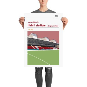 A football print of Firhill Stadium, home to Partick Thistle and the John Lambie Stand. Glasgow