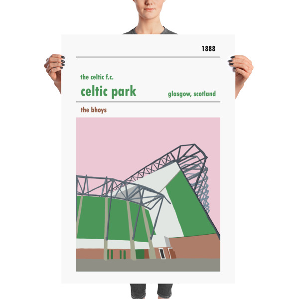 A huge football poster of the Lisbon Lions stand at Celtic Park