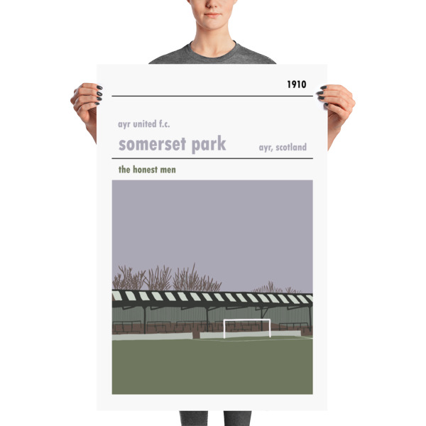 A huge football poster of Somerset Park, home of Ayr United FC