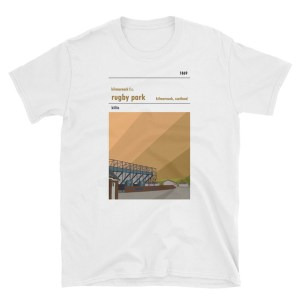 A white t-shirt of Rugby Park and Kilmarnock FC
