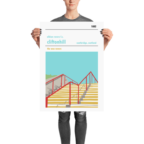 A stadium print poster of Albion Rovers FC and their home ground of Cliftonhill. The Wee Rovers. Large