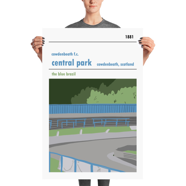 A huge football poster of Central Park, Cowdenbeath and the Blue Brazil