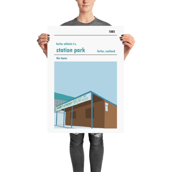 A large football poster of Station Park, Forfar Athletic FC