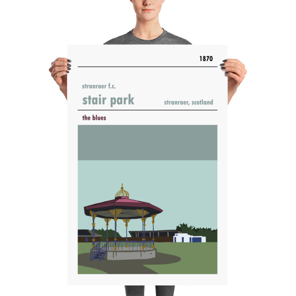 A huge football poster of Stair Park and Stranraer FC